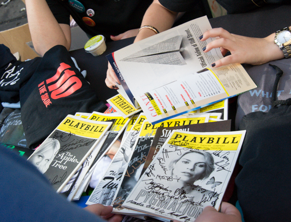 Numerous signed Playbills were among the many fun things to buy at the flea market.<br />(© David Gordon)