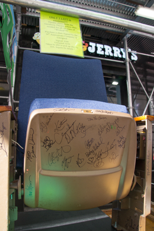 Theater chairs from the Gershwin Theatre signed by the cast of <i>Wicked</i>.<br />(© David Gordon)