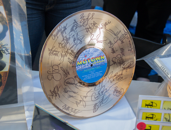 A gold record signed by the cast of <i>Motown the Musical</i>.<br />(© David Gordon)