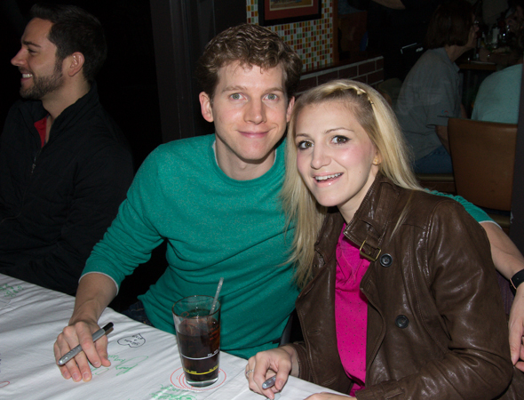 <i>Kinky Boots</i> stars Stark Sands and Annaleigh Ashford show off their bright colors.<br />(© David Gordon)