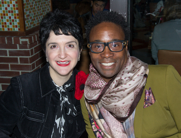 Lauren Cohn (<i>Mamma Mia!</i>) and Billy Porter (<i>Kinky Boots</i>) pal around at the autograph table.<br />(© David Gordon)