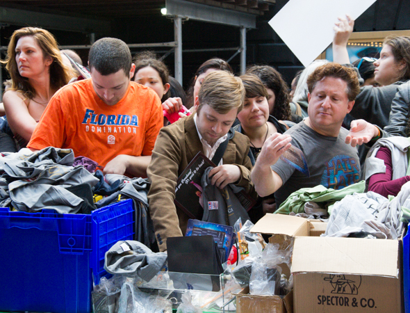 Boxes and boxes of t-shirts were available for people to riffle through to find their size.<br />(© David Gordon)