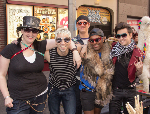 The cast of <i>Rock of Ages</i> were outside the Helen Hayes Theatre selling memorabilia from their show.<br />(© Seth Walters)