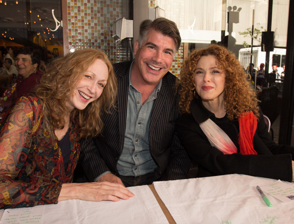 Jan Maxwell (<I>The Castle</i>) and Bernadette Peters (<i>Follies</i>) flank Bryan Batt (</i>Mad Men</i>).<br />(© Seth Walters)