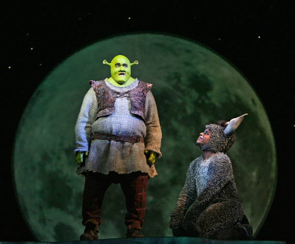 Brian d'Arcy James and Daniel Breaker in <i>Shrek the Musical</i>