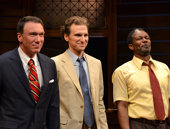 Patrick Page, Sebastian Arcelus, and John Douglas Thompson bow.<br />(© David Gordon)