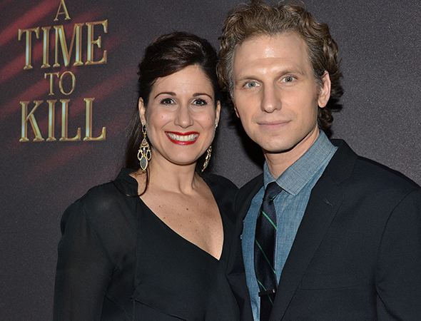 Sebastian Arcelus, who leads the company as attorney Jake Brigance, smiles alongside his lovely wife, Tony nominee Stephanie J. Block.<br />(© David Gordon)